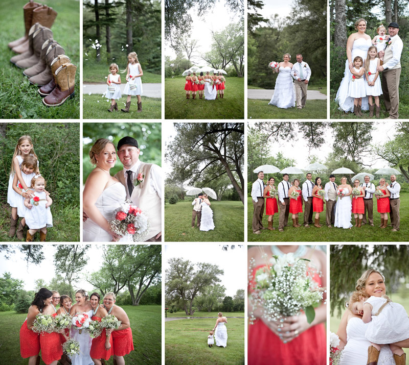 country wedding, rainy wedding, wedding party with umbrellas